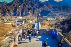PÉKIN, CHINE - 29 JANVIER 2017 : Vue fantastique de Grande Muraille impressionnante un beau jour ensoleillé, située à Juyong Photographie stock libre de droits