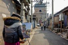 PÉKIN, CHINE - 12 MARS 2016 : Le vieux hutong de Pékin avec le son Photographie stock libre de droits