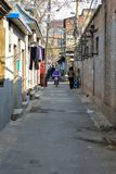 PÉKIN, CHINE - 14 MARS 2016 : Le vieux hutong de Pékin avec le son Photos stock