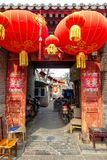 PÉKIN, CHINE - 12 MARS 2016 : Le vieux hutong de Pékin avec le son Images stock
