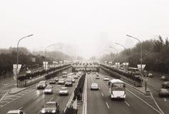 Pékin en brouillard Photos stock