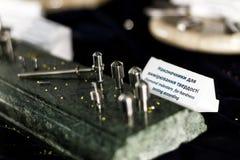 Pénétrateurs de diamant pour s'accorder d'essai de dureté photo stock