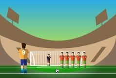 Pénalité du football sur le stade de football Image stock