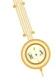 Péndulo de cobre amarillo del reloj viejo aislado en el fondo blanco Foto de archivo