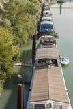 Péniche amarrée sur le Rhône à Lyon France images stock