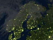 Péninsule scandinave la nuit sur terre de planète Images libres de droits
