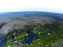 Péninsule scandinave sur terre de planète Image stock