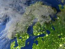 Péninsule scandinave sur terre de planète Photo stock