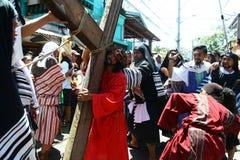 Pénitents reconstituant la passion du Christ Image libre de droits