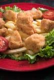 Pépites de poulet cuites à la friteuse Photos libres de droits