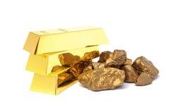 Pépites et lingots d'or photos libres de droits