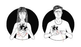 Pérdida triste y sufridora del hombre y de la mujer de amor Concepto del corazón quebrado Ilustración drenada mano libre illustration