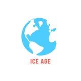 Période glaciaire avec la terre bleue de planète illustration libre de droits