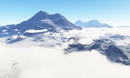 Période glaciaire Terre en friche glaciale des nuages dans le ciel illustration de vecteur