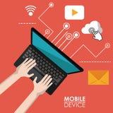 Périphérique mobile rouge d'affiche d'ordinateur portable dans la vue supérieure et le lien aux icônes communes d'apps illustration de vecteur
