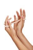Pérola e mãos fotografia de stock royalty free