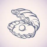 Pérola no escudo Desenho do vetor ilustração do vetor
