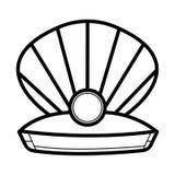 Pérola no shell aberto ilustração do vetor