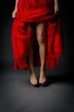 Pés bonitos e saia vermelha Fotografia de Stock Royalty Free