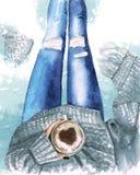 Pés da menina da aquarela nas calças de brim com opinião superior da caneca Foto de Stock Royalty Free