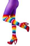 Pés da mulher em meias coloridas Imagem de Stock