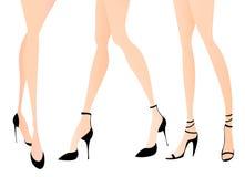 Pés da mulher em sapatas da forma Imagem de Stock