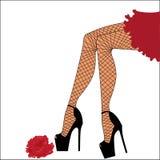 Pés da mulher na meia-calça Imagem de Stock