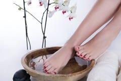 Pés da mulher no procedimento do pedicure dos termas Pés na bacia de madeira com a flor da água e do toalha e a branca da orquíde foto de stock
