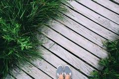 Pés da mulher nos calçados casuais no fundo de madeira do cais com GR Fotos de Stock Royalty Free