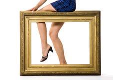 Pés da mulher 'sexy' atrás Fotografia de Stock Royalty Free