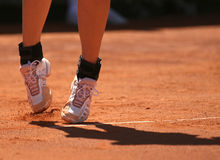 Pés das mulheres do esporte do tênis Fotografia de Stock