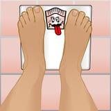 Pés das pessoas na escala de peso Fotografia de Stock Royalty Free