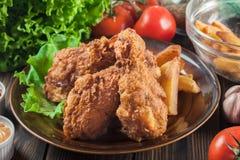 Pés de galinha fritados friáveis de kentucky com batatas fritas fotos de stock royalty free