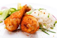 Pés de galinha grelhados com arroz foto de stock