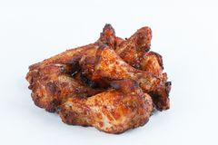 Pés de galinha grelhados fritados no fundo branco menu FastFood foto de stock royalty free
