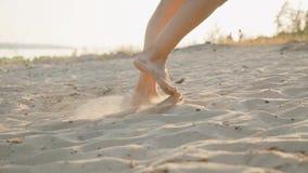 Pés de uma menina que anda ao longo de um Sandy Beach no por do sol Movimento lento video estoque