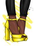 Pés delgados longos na calças apertada e em sapatas alto-colocadas saltos Forma, estilo, roupa e acessórios Ilustração do vetor ilustração stock