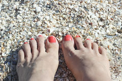 Pés descalços na costa da areia Foto de Stock Royalty Free