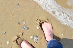 Pés desencapados na costa arenosa Fotos de Stock Royalty Free