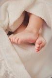 Pés do bebê dentro em uma cobertura christening foto de stock royalty free