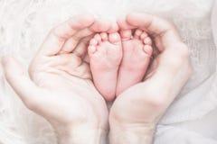 Pés do bebê nas mãos do pai Imagens de Stock Royalty Free