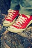Pés do ` s da mulher nas sapatilhas vermelhas brilhantes da lona Foto de Stock Royalty Free