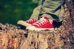 Pés do ` s da mulher nas sapatilhas vermelhas brilhantes da lona Foto de Stock