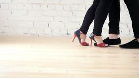 Pés dos dançarinos que vestem sapatas da forma - o par da família está dançando o kizomba no estúdio filme