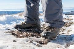 Pés e botas da caminhada Foto de Stock Royalty Free