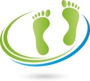 Pés e logotipo do cuidado dos círculos, da massagem e de pé ilustração stock