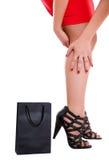 Pés e mão da mulher Fotos de Stock