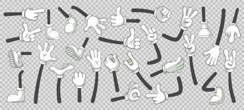 Pés e mãos dos desenhos animados Pés nas botas e nas mãos gloved Grupo isolado vetor da ilustração ilustração royalty free