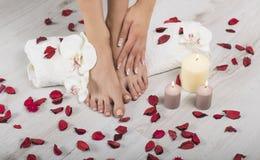 Pés e mãos fêmeas bonitos com tratamento de mãos francês na toalha branca Termas, cuidado de pé Imagens de Stock Royalty Free