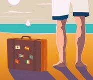 Pés e mala de viagem desencapados em uma praia ilustração royalty free